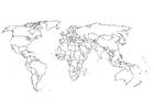 Disegno da colorare mappa del mondo