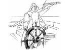 Disegno da colorare marinaio al timone