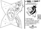 Disegno da colorare maschera a mano uccello