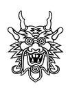 Disegno da colorare maschera di dragone