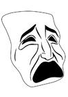Disegno da colorare maschera - piangere