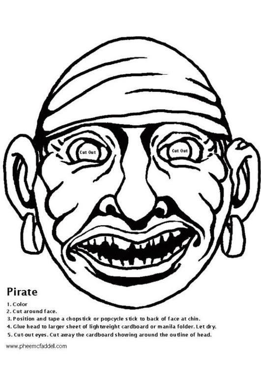Disegno da colorare maschera pirati cat 6112 - Pirata immagini da colorare i pirati ...