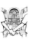Disegno da colorare matrimonio in chiesa