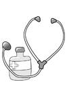 Disegno da colorare medicine e stetoscopio