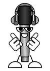 Disegno da colorare microfono - ascoltare musica