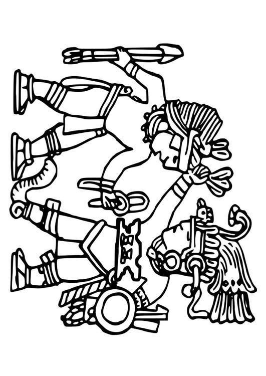 aztec murals coloring pages - photo#2