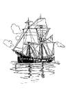 Disegno da colorare nave a due veli