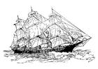 Disegno da colorare nave a tre veli