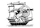 Disegno da colorare nave pirata