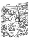 Disegno da colorare negozio di giocattoli