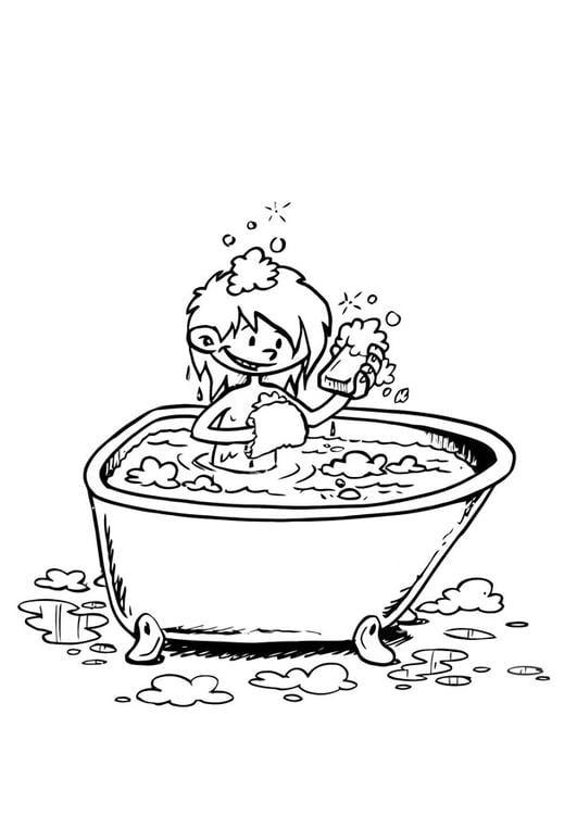 Disegno da colorare nella vasca da bagno disegni da for Disegno bagno online