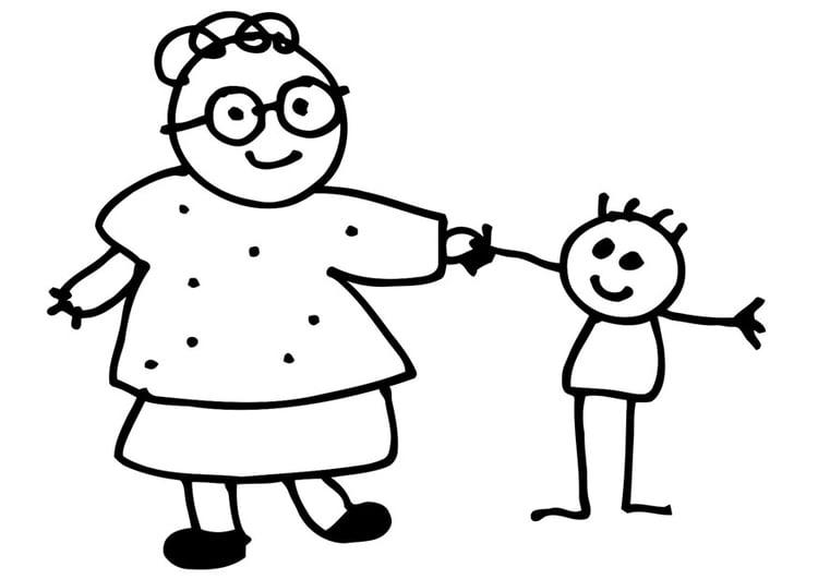 Disegno Da Colorare Nonna E Nipote Disegni Da Colorare E