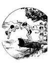 Disegno da colorare nuotare in uno stagno