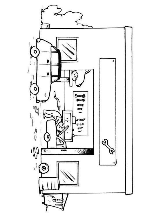 disegno da colorare officina senza testo cat 8155