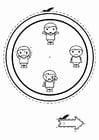 Disegno da colorare orologio delle emozioni - ragazzi