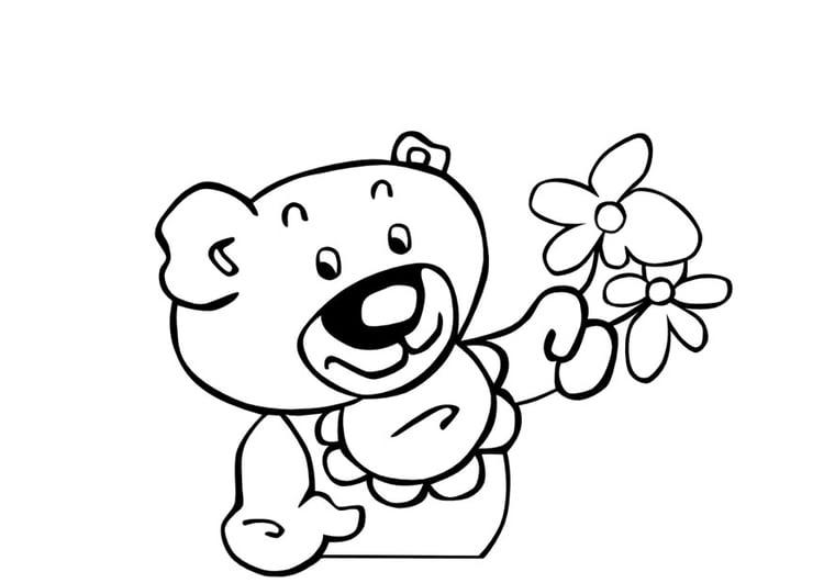 Disegni Di Rose Da Colorare Designzip Info: Disegno Da Colorare Orsetti Con Fiori