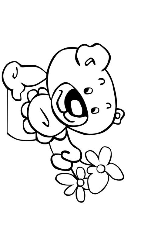 Disegno Da Colorare Orsetto Con Fiori Cat 9994