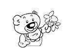 Disegno da colorare orsetto con fiori