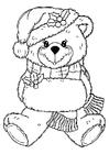 Disegno da colorare orso natalizio