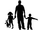 Disegno da colorare padre con figli