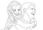 Disegno da colorare padre e figlia