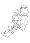 Disegno da colorare padre e figlio