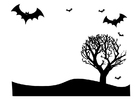 Disegno da colorare paesaggio di Halloween