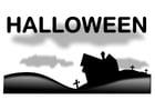 Disegno da colorare paesaggio halloween
