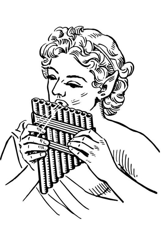 Disegno Da Colorare Pan Flauto Di Pan Cat 18636