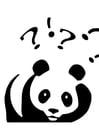 Disegno da colorare panda che ha delle domande