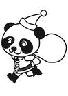 Disegno da colorare panda natalizio