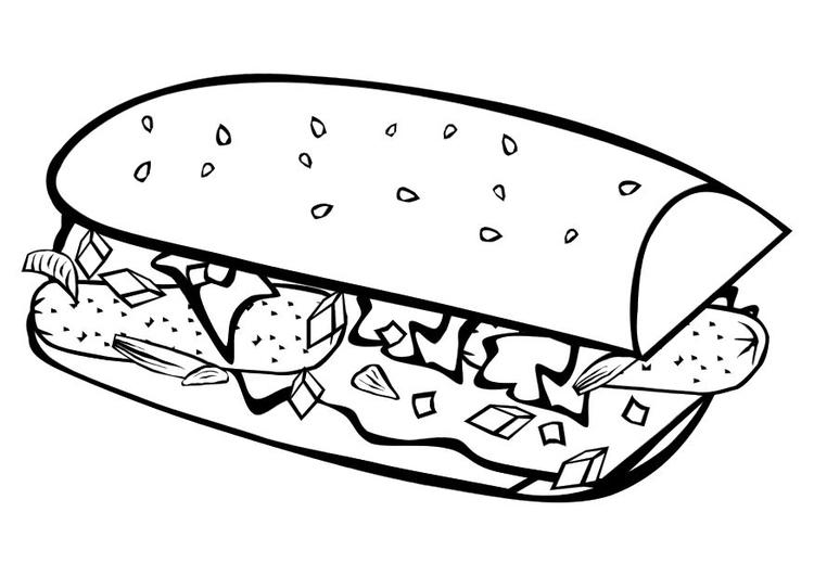 Disegno da colorare panino - Cat. 10149.