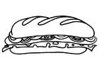 Disegno da colorare panino farcito