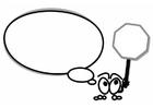 Disegno da colorare personaggio parlante con lo STOP
