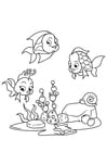 Disegno da colorare pescare con gli amici