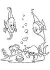 Disegno da colorare pesce nel mare con il granchio