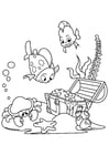 Disegno da colorare pesci e granchi trovano tesori