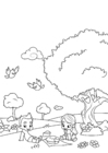 Disegno da colorare picnic di primavera