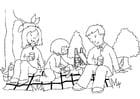 Disegno da colorare picnic