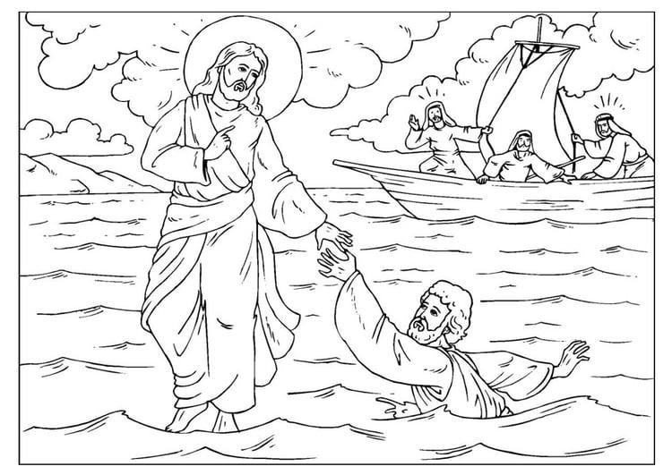 Christelijke Kleurplaat Jezus Loopt Over Water Disegno Da Colorare Pietro Perde Le Fede Cat 25920 Images