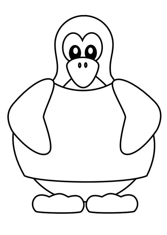 Disegno Da Colorare Pinguino Con Maglietta Cat 9988