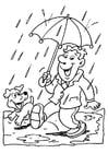 Disegno da colorare pioggia