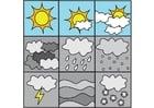 Disegno da colorare pittogrammi meteo 1