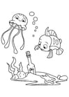 Disegno da colorare polpo e pesce con bottiglia