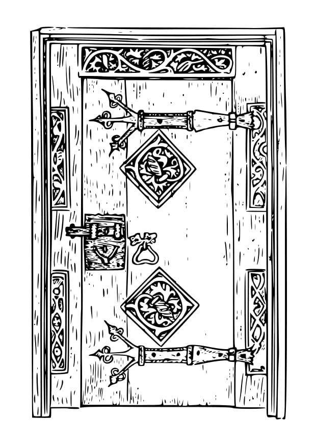 Disegno da colorare porta antica cat 18667 - Porta da colorare ...