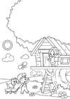 Disegno da colorare primavera - giocando nella casa sull'albero