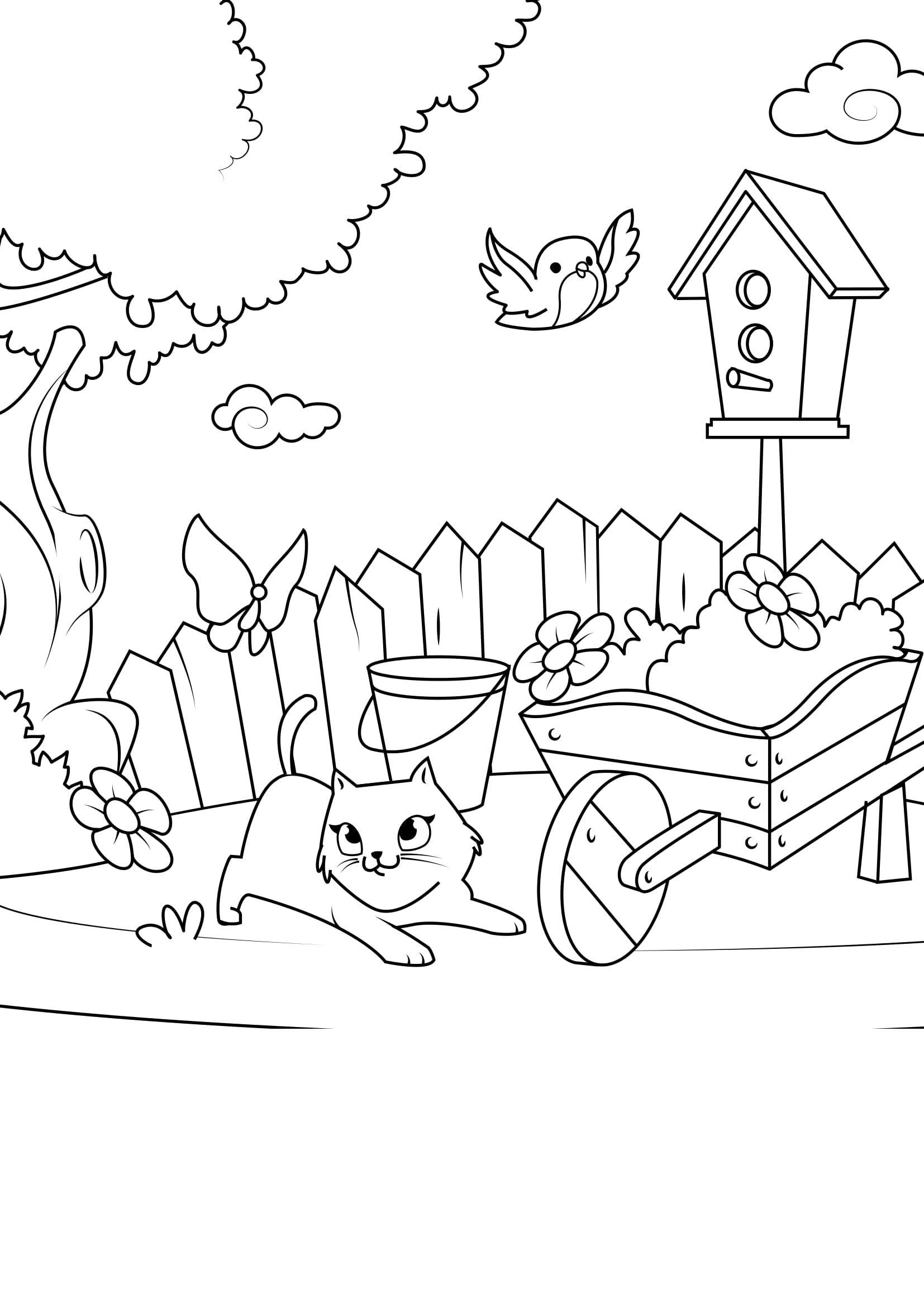 Disegno da colorare primavera in giardino - Disegni Da ...
