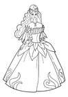 Disegno da colorare principessa alla festa