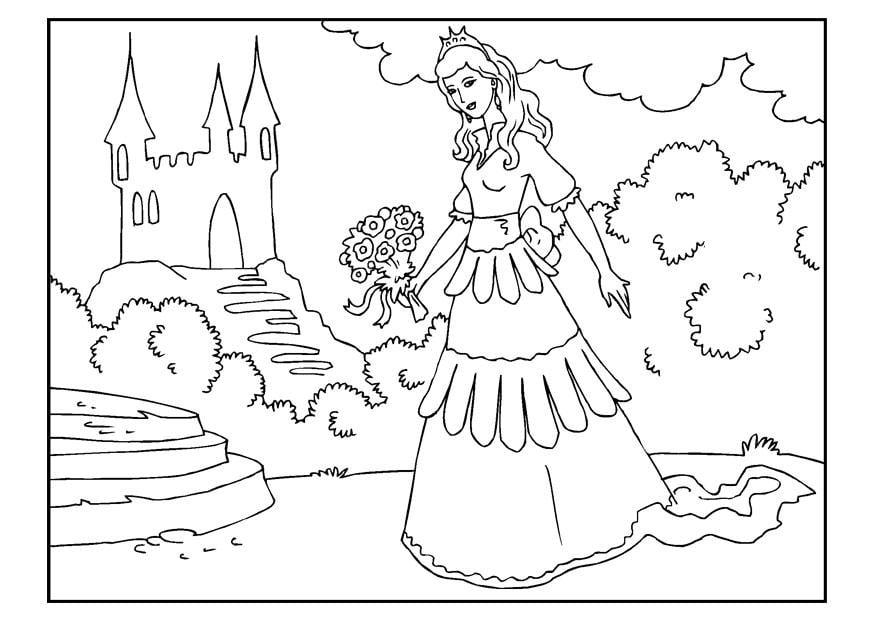 Disegno Da Colorare Principessa Con Fiori Cat 22653