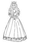 Disegno da colorare principessa con fiori